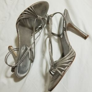 Guess Silver Sparkle Strappy Sandel Heels